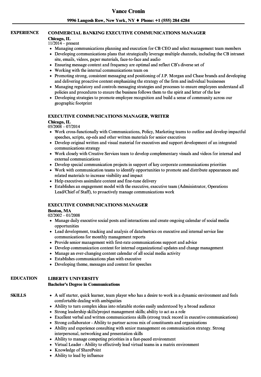 Executive Communications Manager Resume Samples