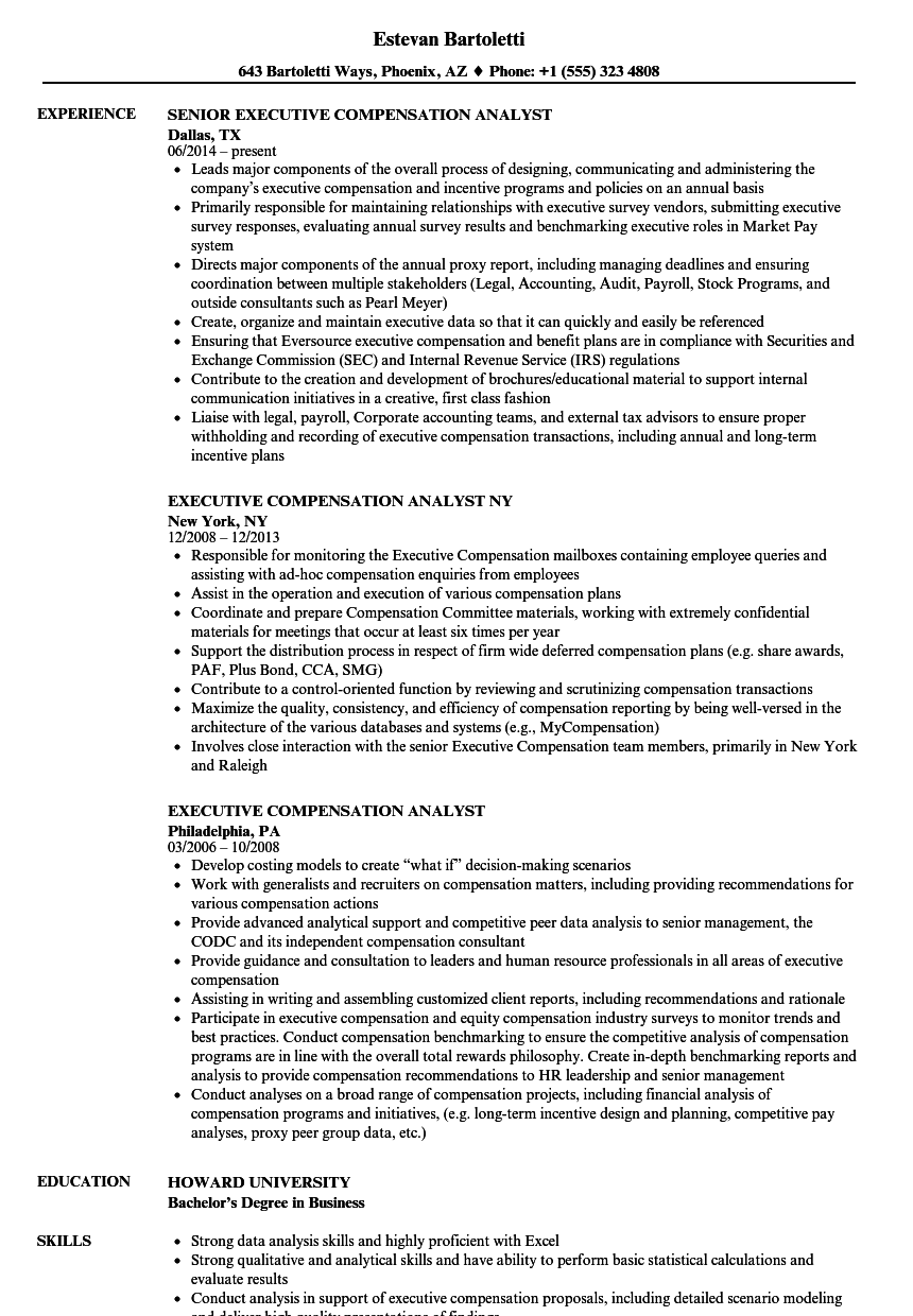 Executive Compensation Analyst Resume Samples Velvet Jobs