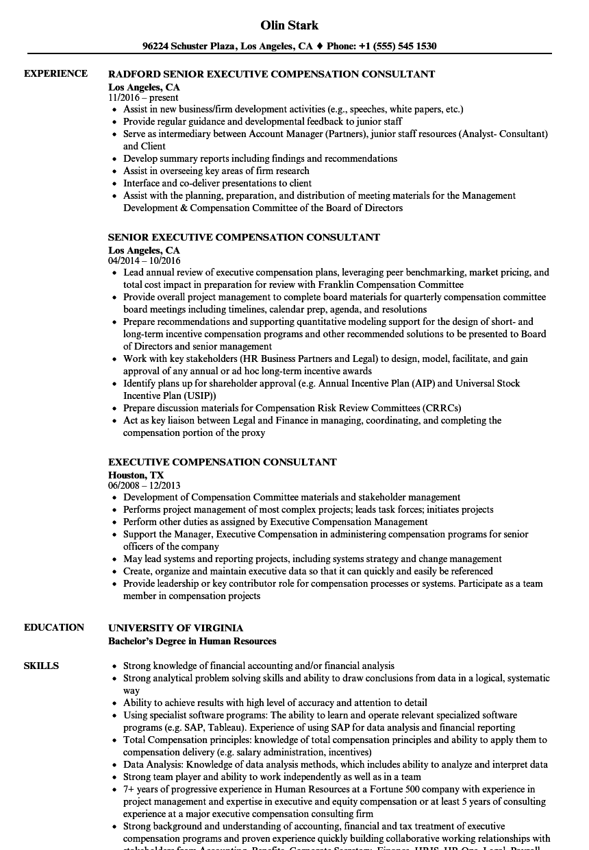 executive compensation consultant resume samples
