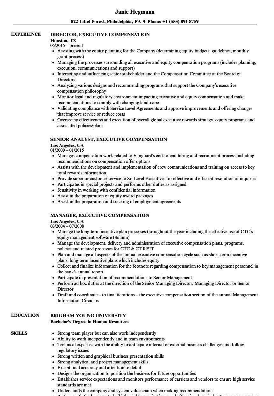 executive compensation resume samples  velvet jobs