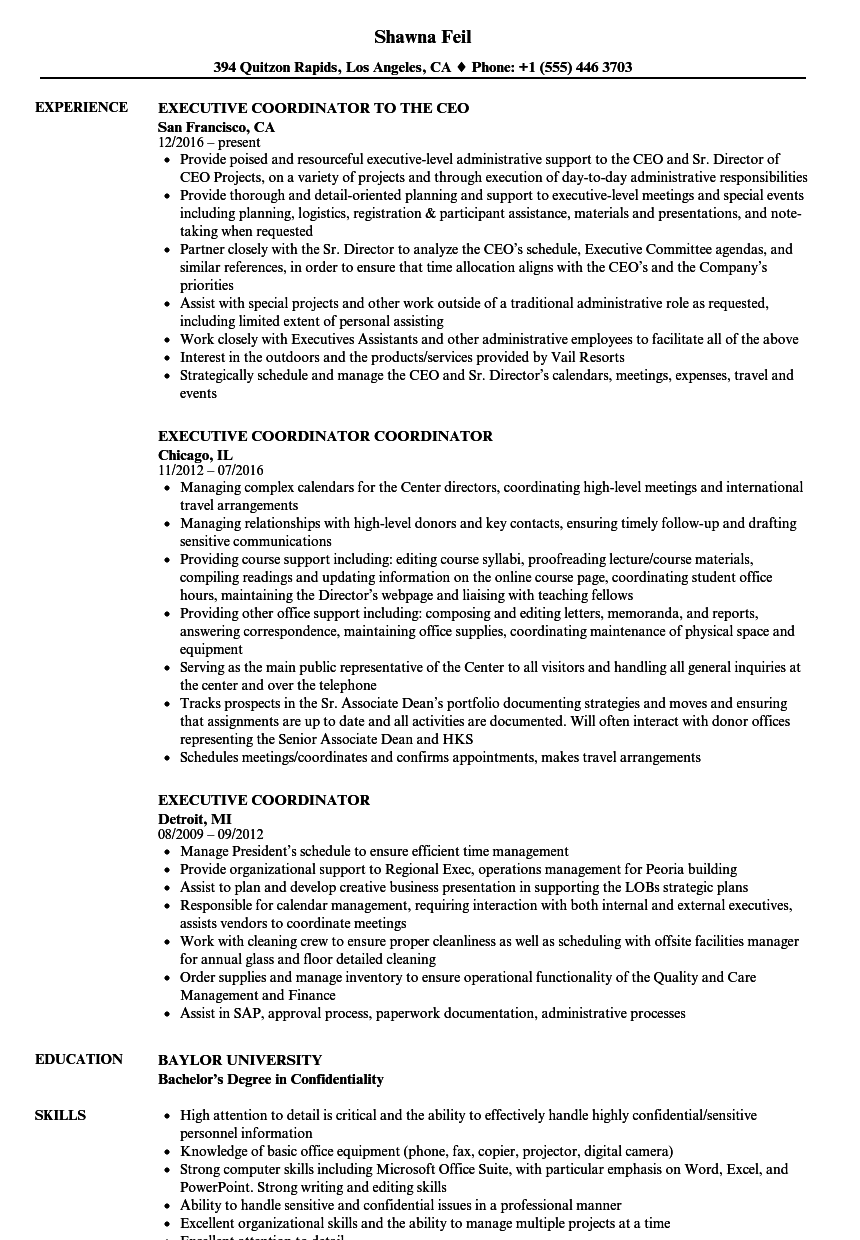 Executive Coordinator Resume Samples | Velvet Jobs
