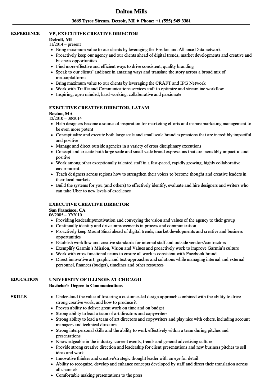 Executive Creative Director Resume Samples | Velvet Jobs