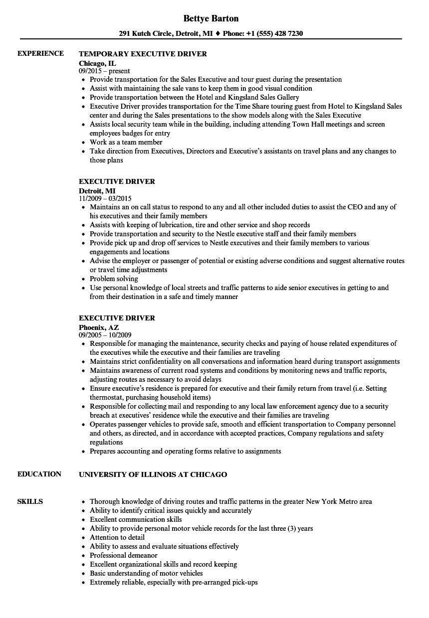 executive driver resume samples