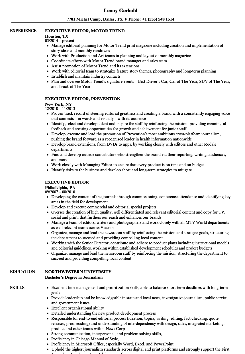 Superb Download Executive Editor Resume Sample As Image File