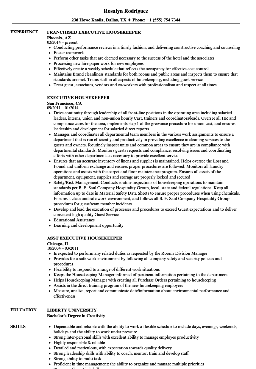 Executive Housekeeper Resume Samples | Velvet Jobs