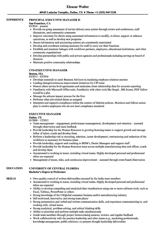 Executive Manager Resume Samples | Velvet Jobs