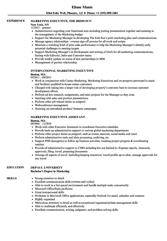 Executive Marketing Resume Samples Velvet Jobs