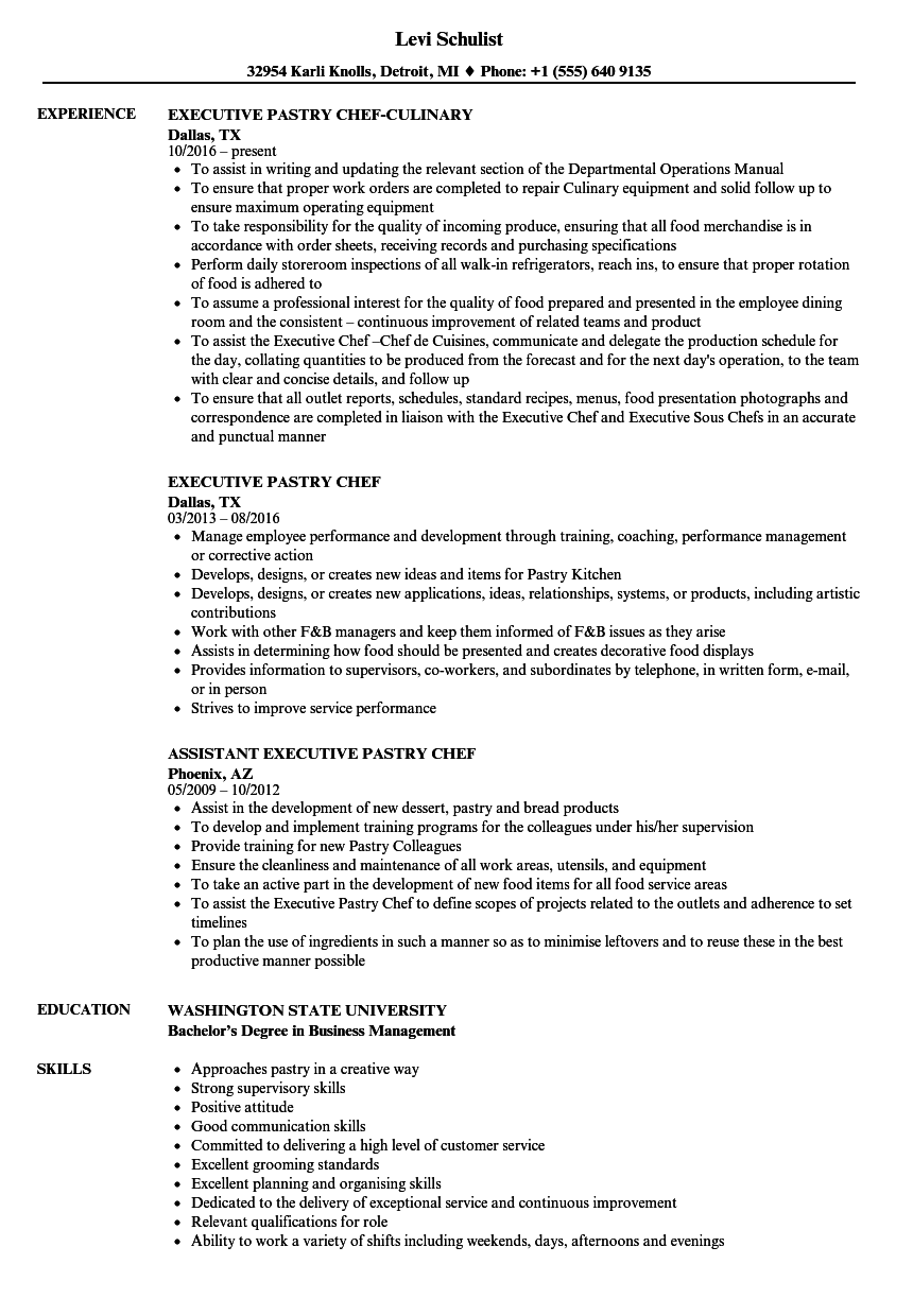 Executive Pastry Chef Resume Samples | Velvet Jobs