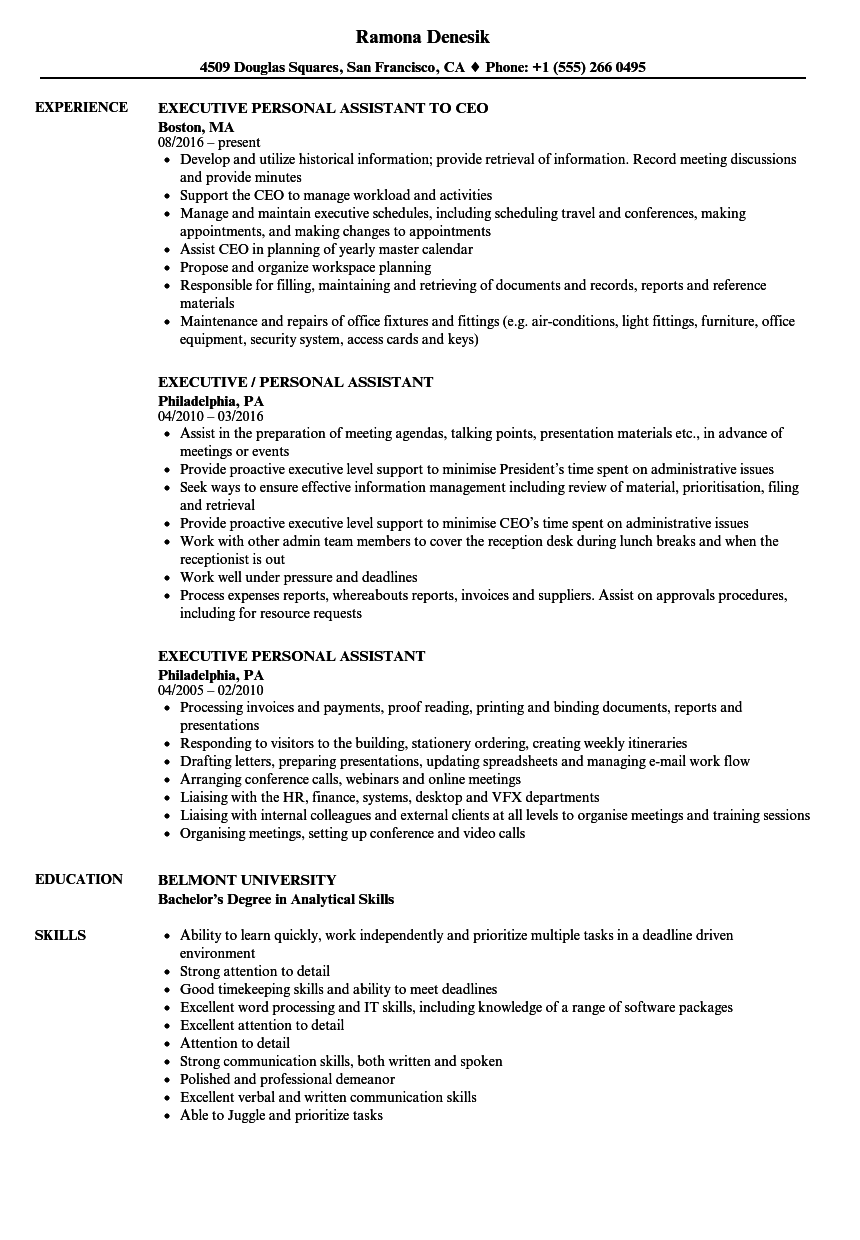 Executive Personal Assistant Resume Samples | Velvet Jobs