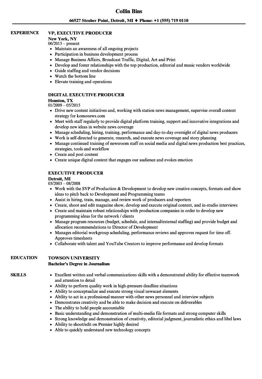 Executive Producer Resume Samples | Velvet Jobs
