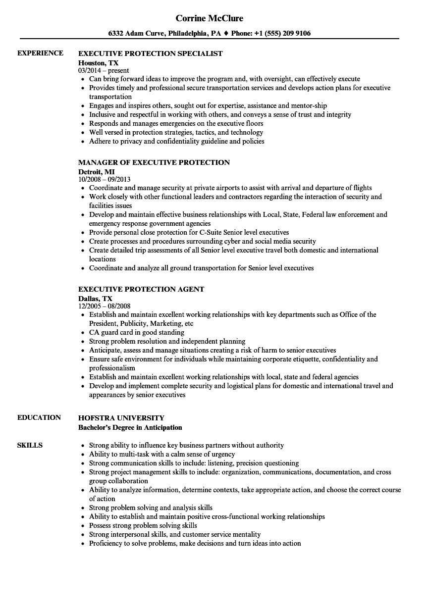 Executive Protection Resume Samples | Velvet Jobs