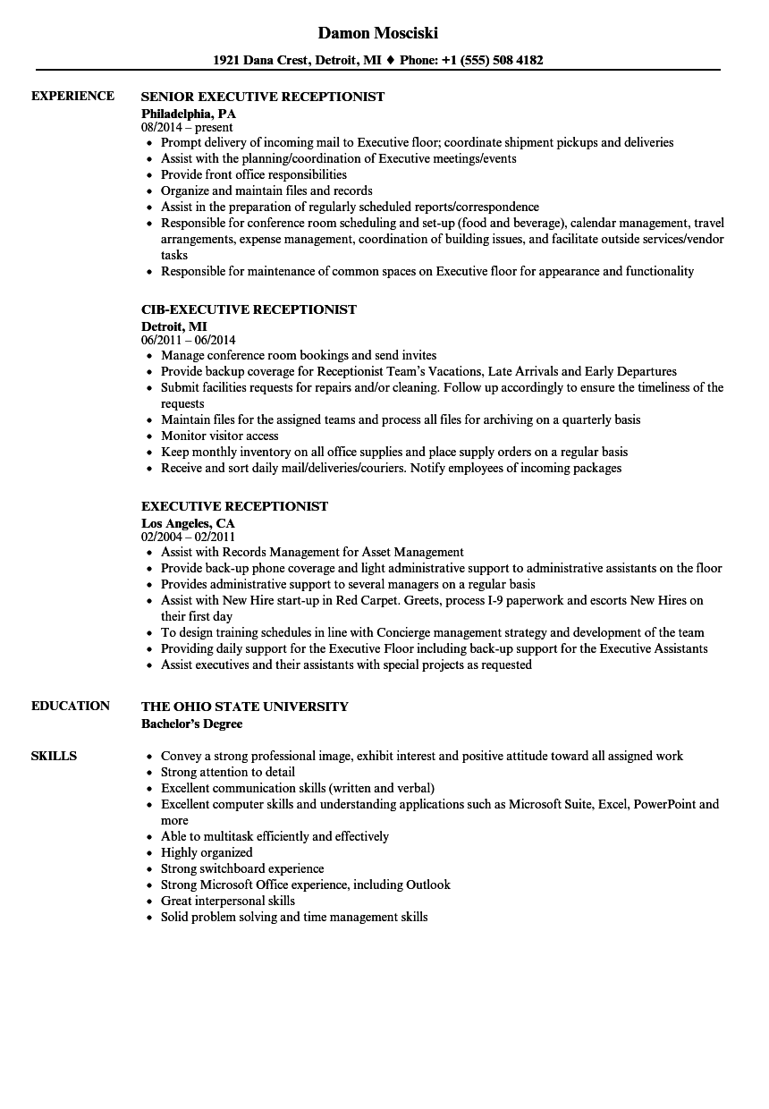 Skills For Receptionist Resume | Executive Receptionist Resume Samples Velvet Jobs