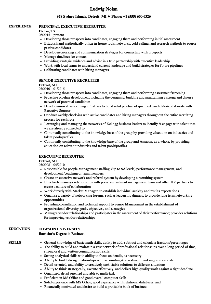 Executive Recruiter Resume Samples | Velvet Jobs