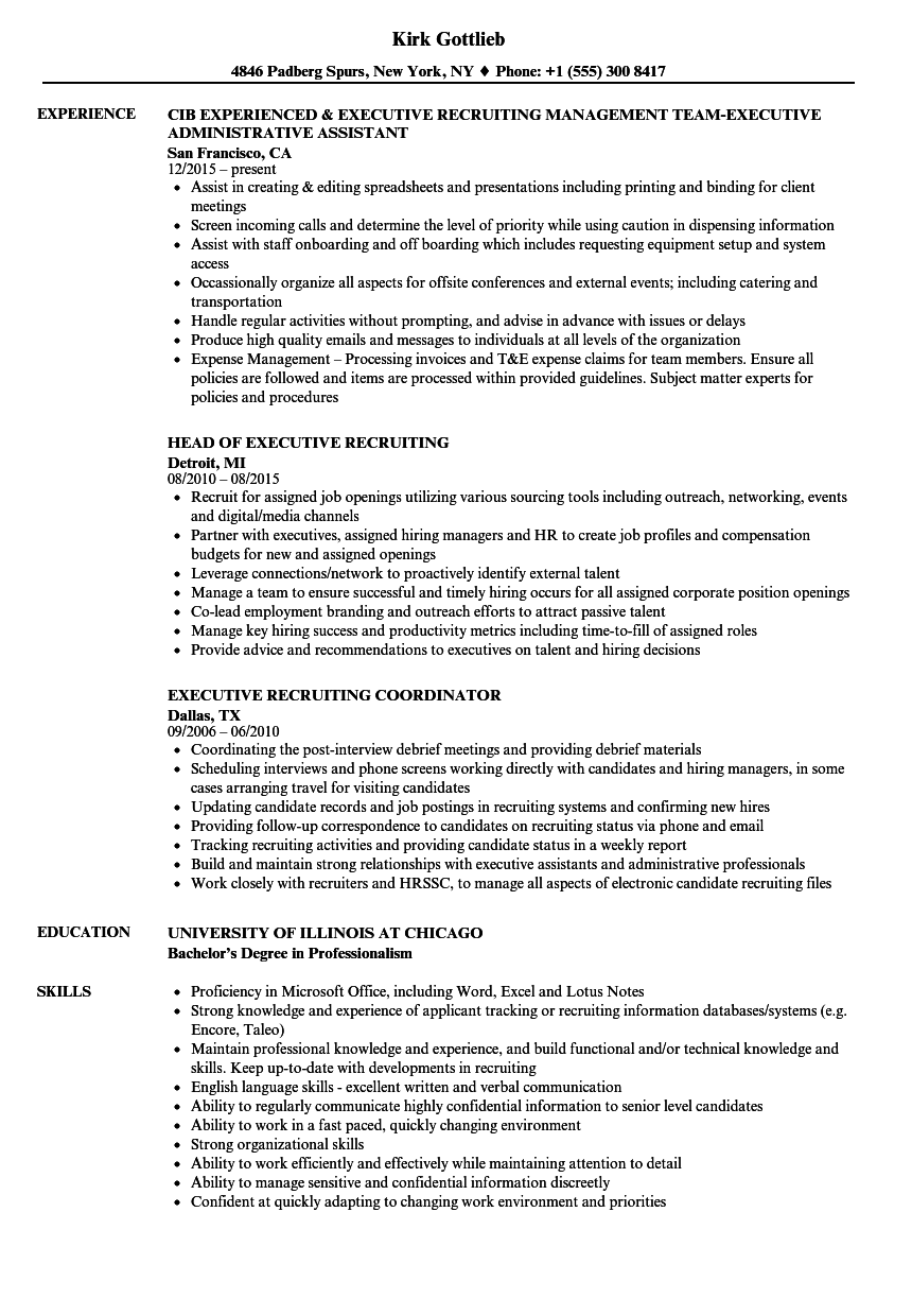 Executive Recruiting Resume Samples Velvet Jobs