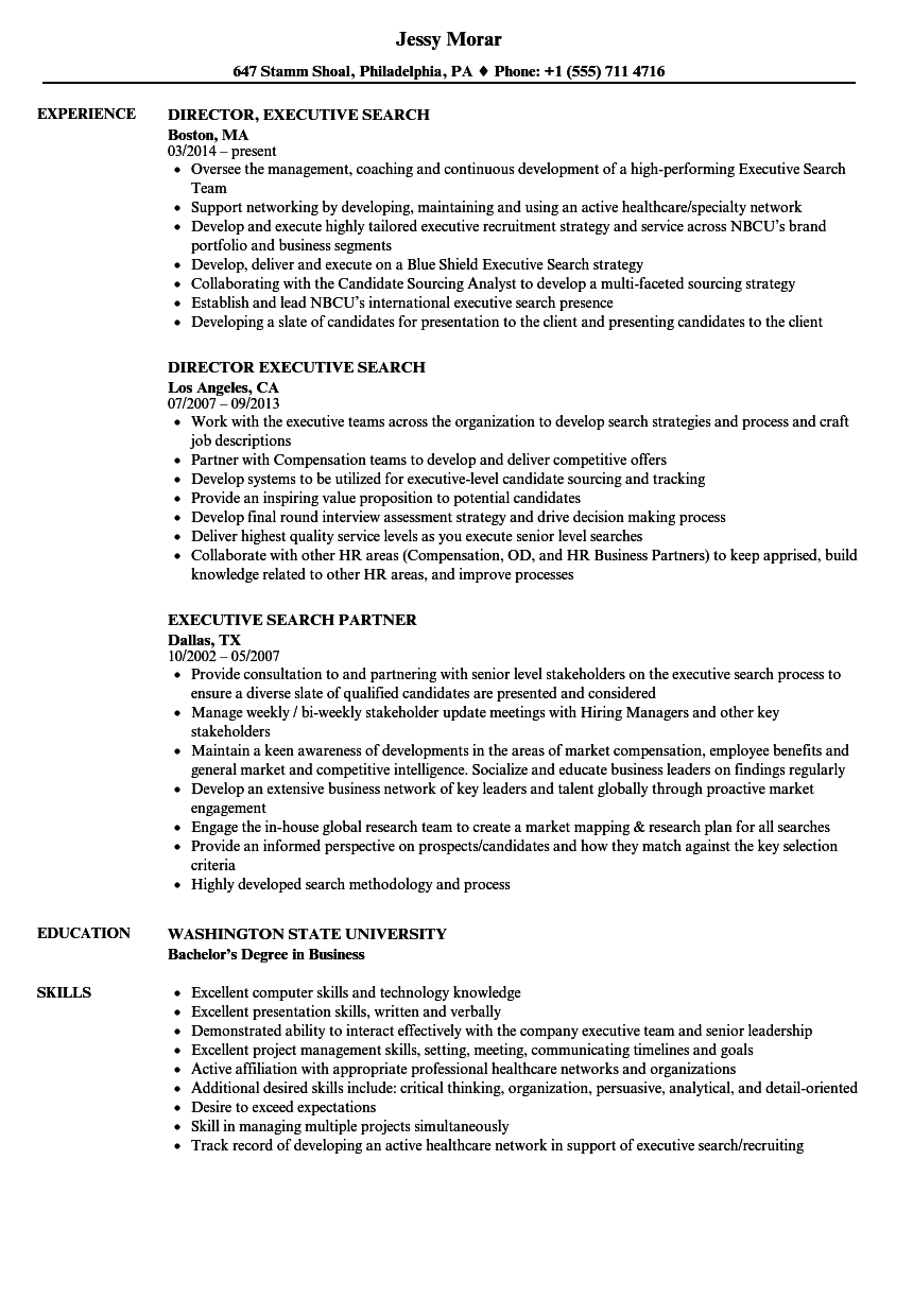 executive search resume samples