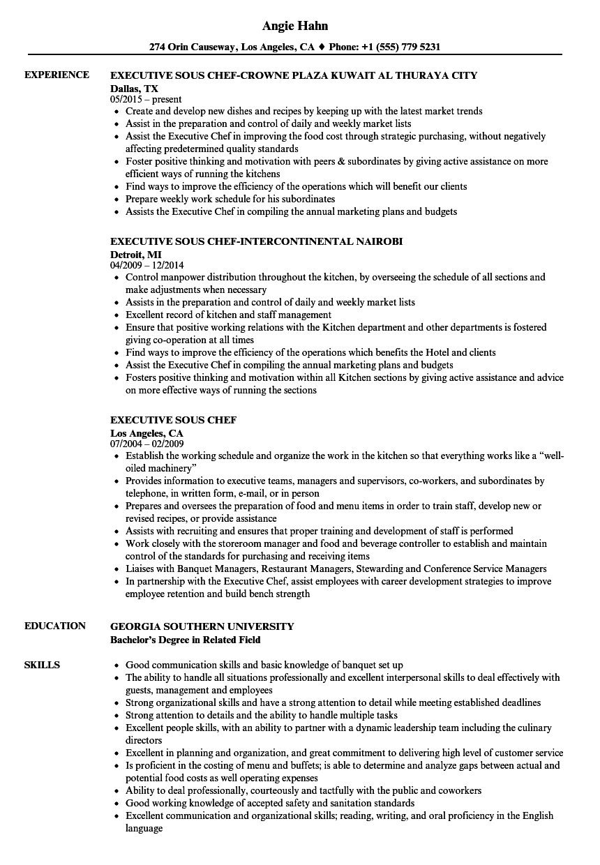 Executive Sous Chef Resume Samples | Velvet Jobs