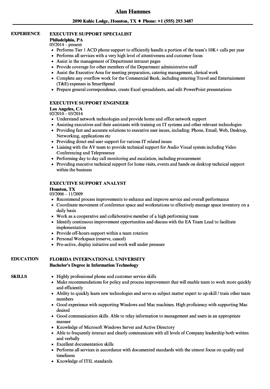 executive support resume samples