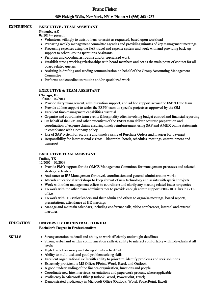 executive    team assistant resume samples