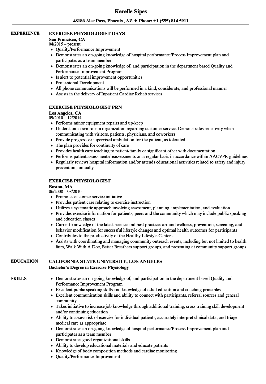 Exercise Physiologist Resume Samples | Velvet Jobs