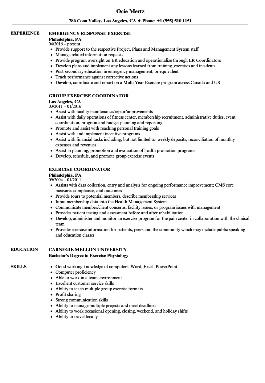 Download Exercise Resume Sample As Image File  Emergency Management Resume