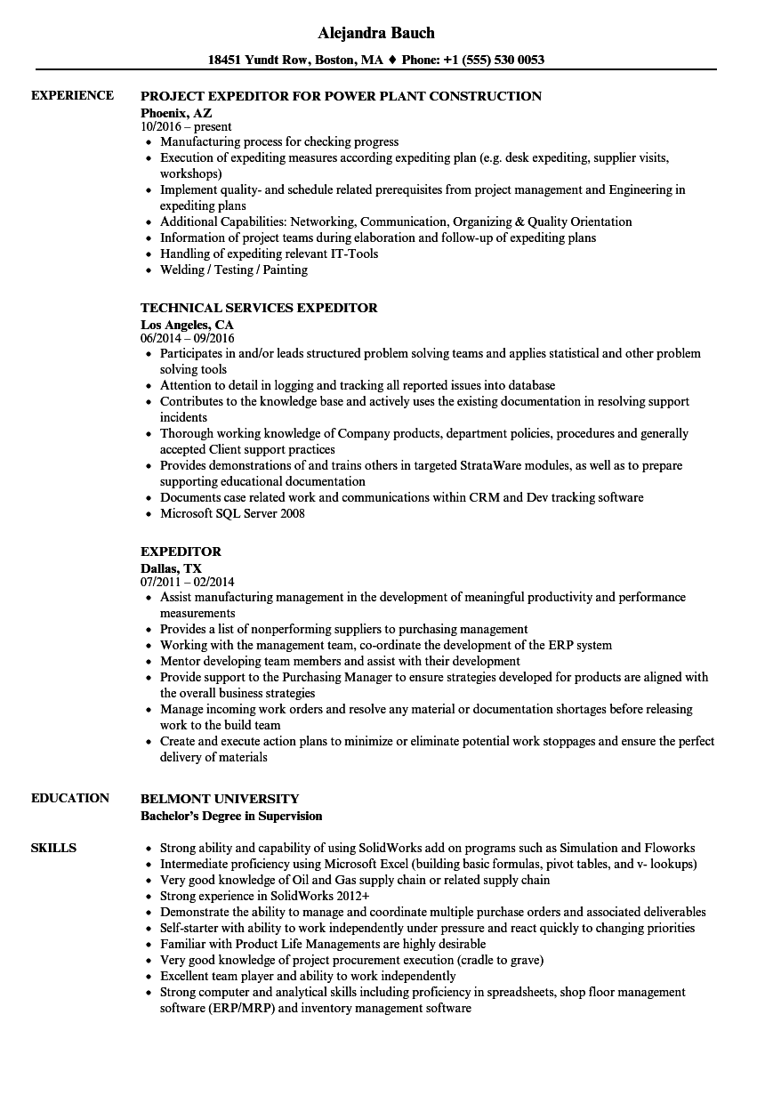 Download Expeditor Resume Sample As Image File