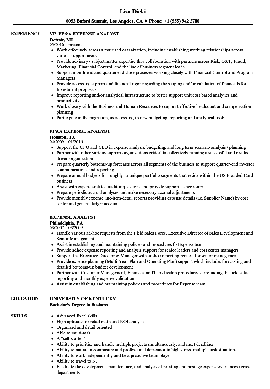 Expense Analyst Resume Samples | Velvet Jobs