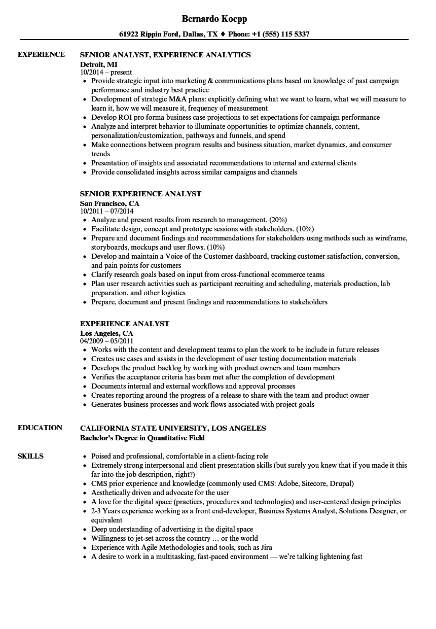 experience analyst resume samples