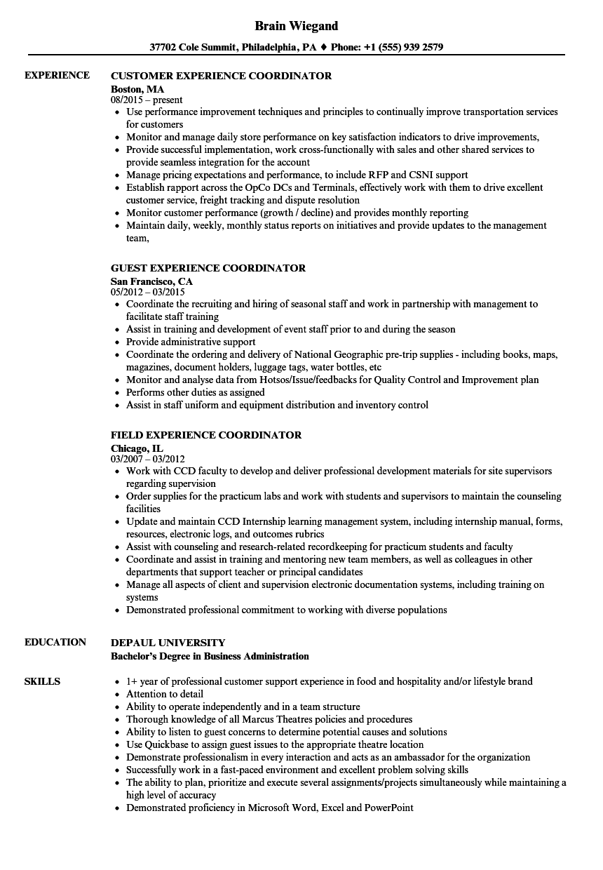 experience coordinator resume samples