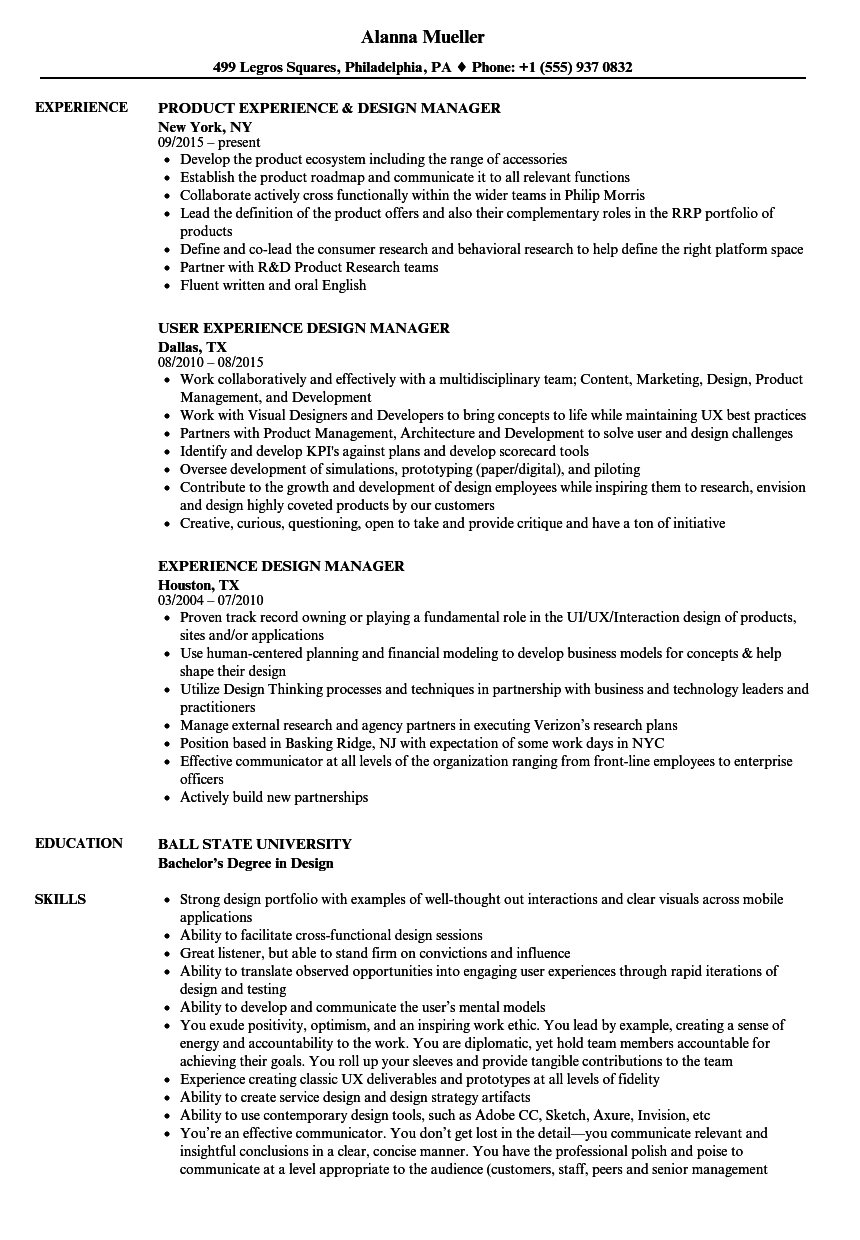 experience design manager resume samples