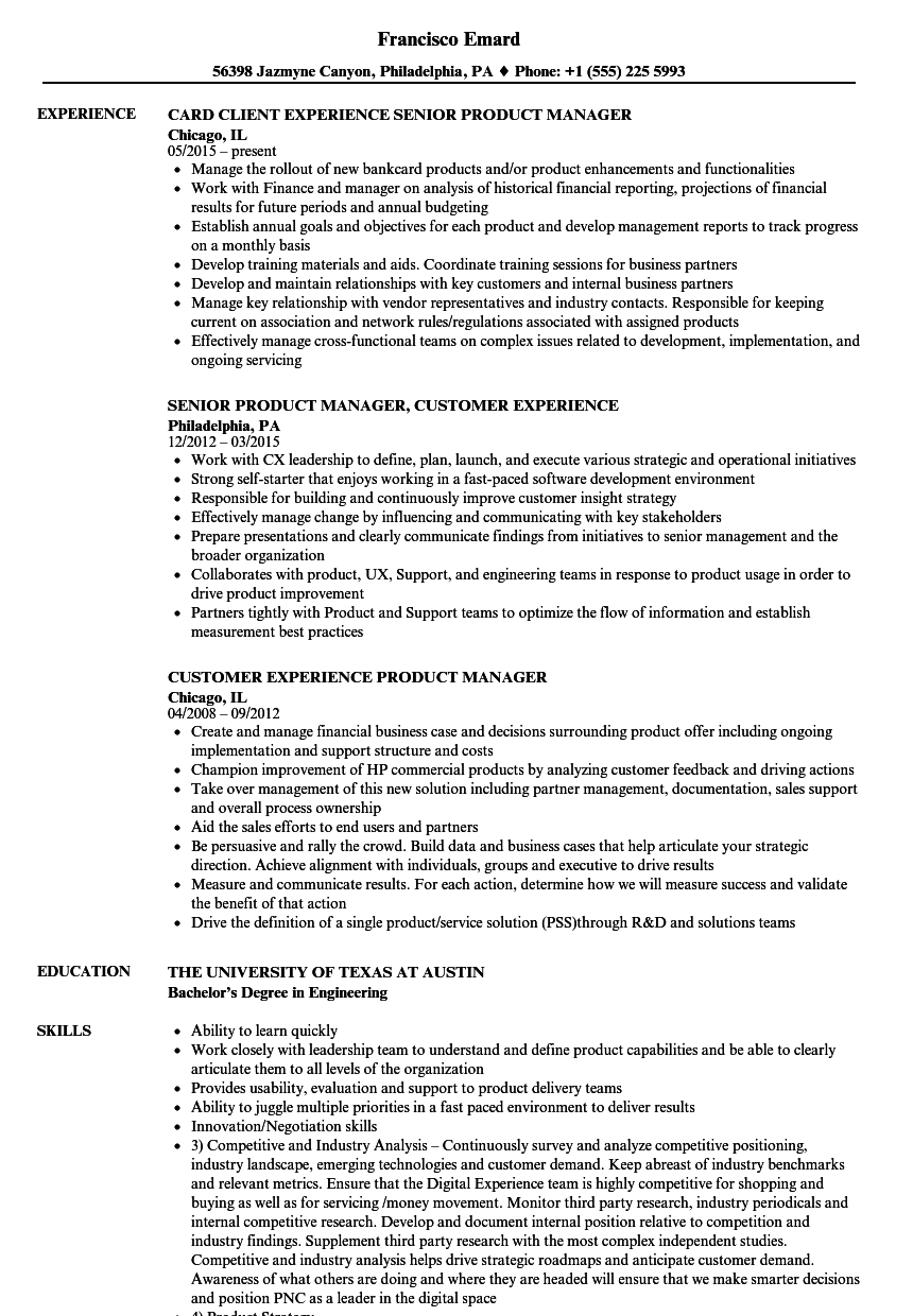 Experience Product Manager Resume
