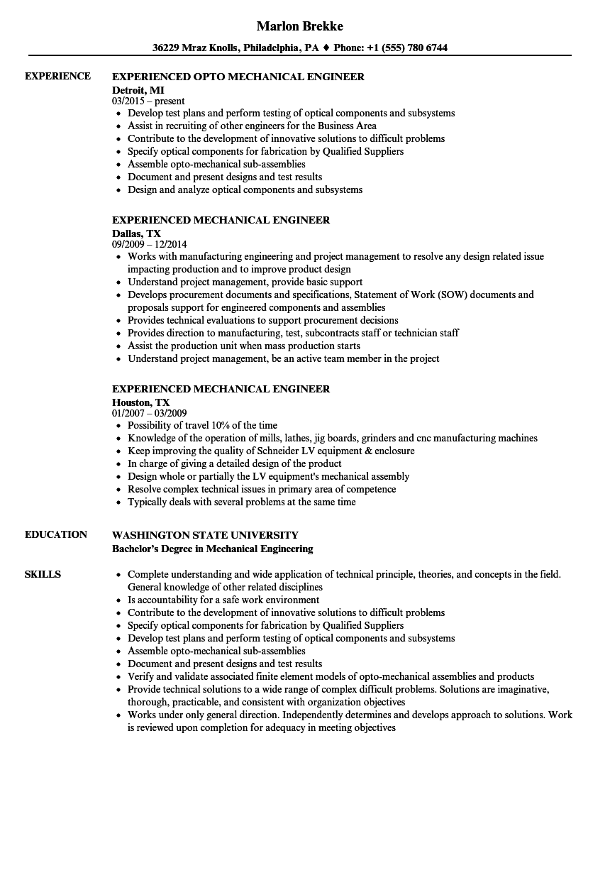 Experienced Mechanical Engineer Resume Samples | Velvet Jobs