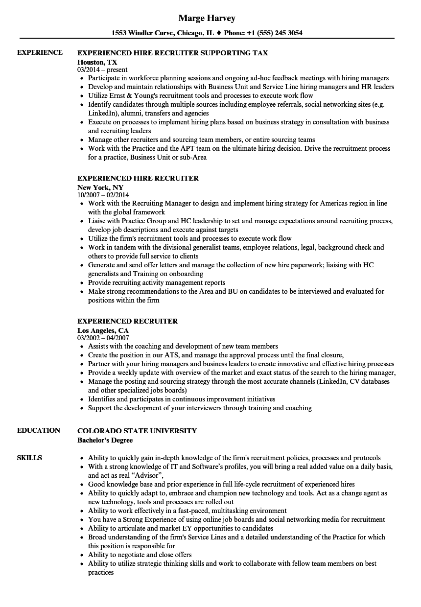 Experienced Recruiter Resume Samples | Velvet Jobs