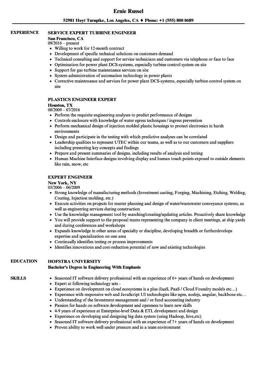 Expert Engineer Resume Samples | Velvet Jobs