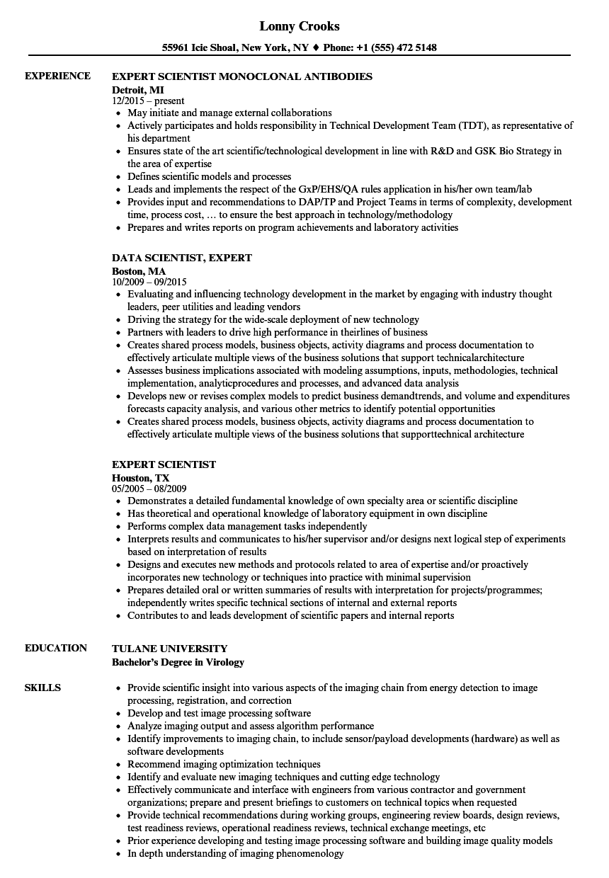 download expert scientist resume sample as image file - Mid Career Resume Sample