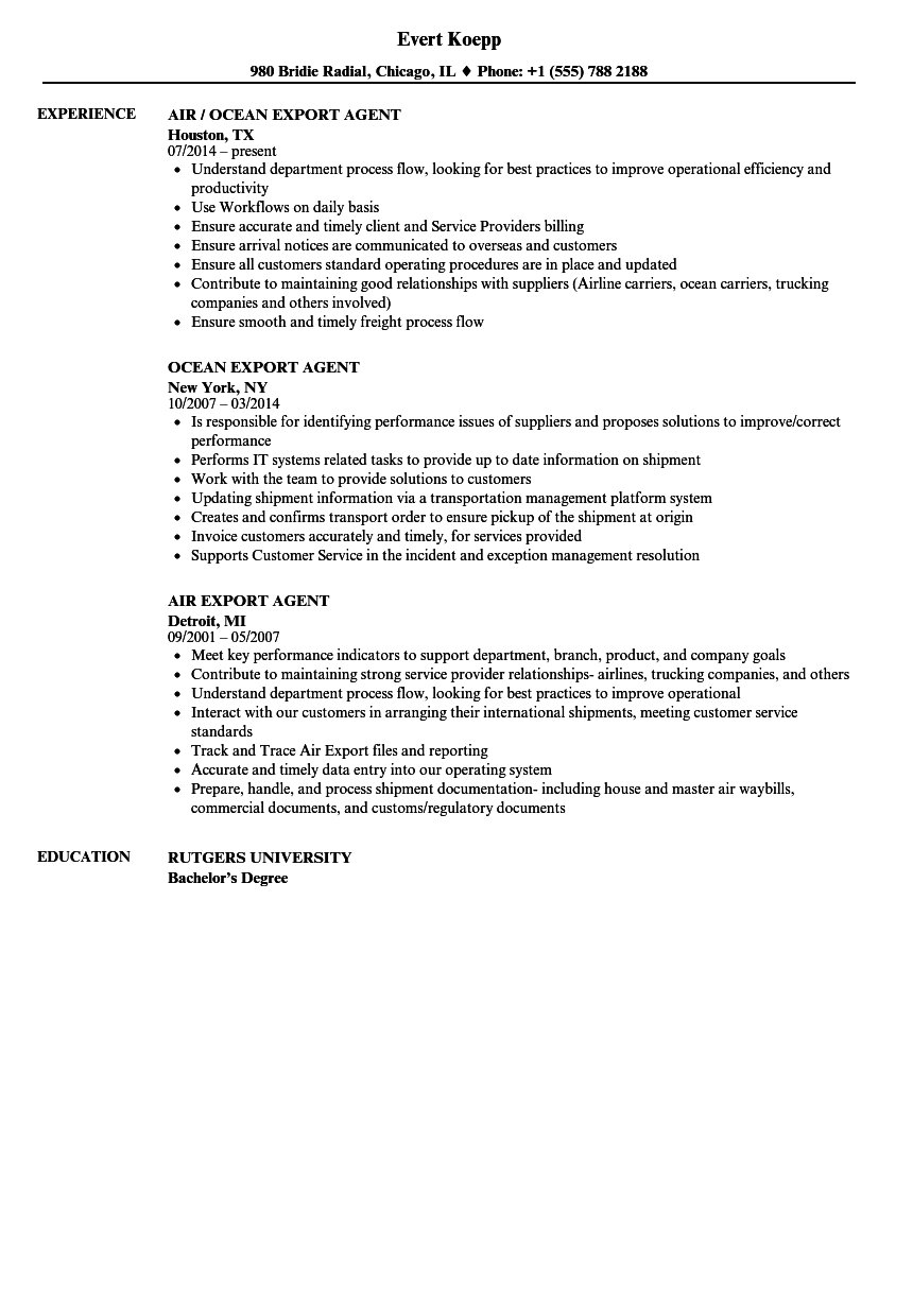 export agent resume samples