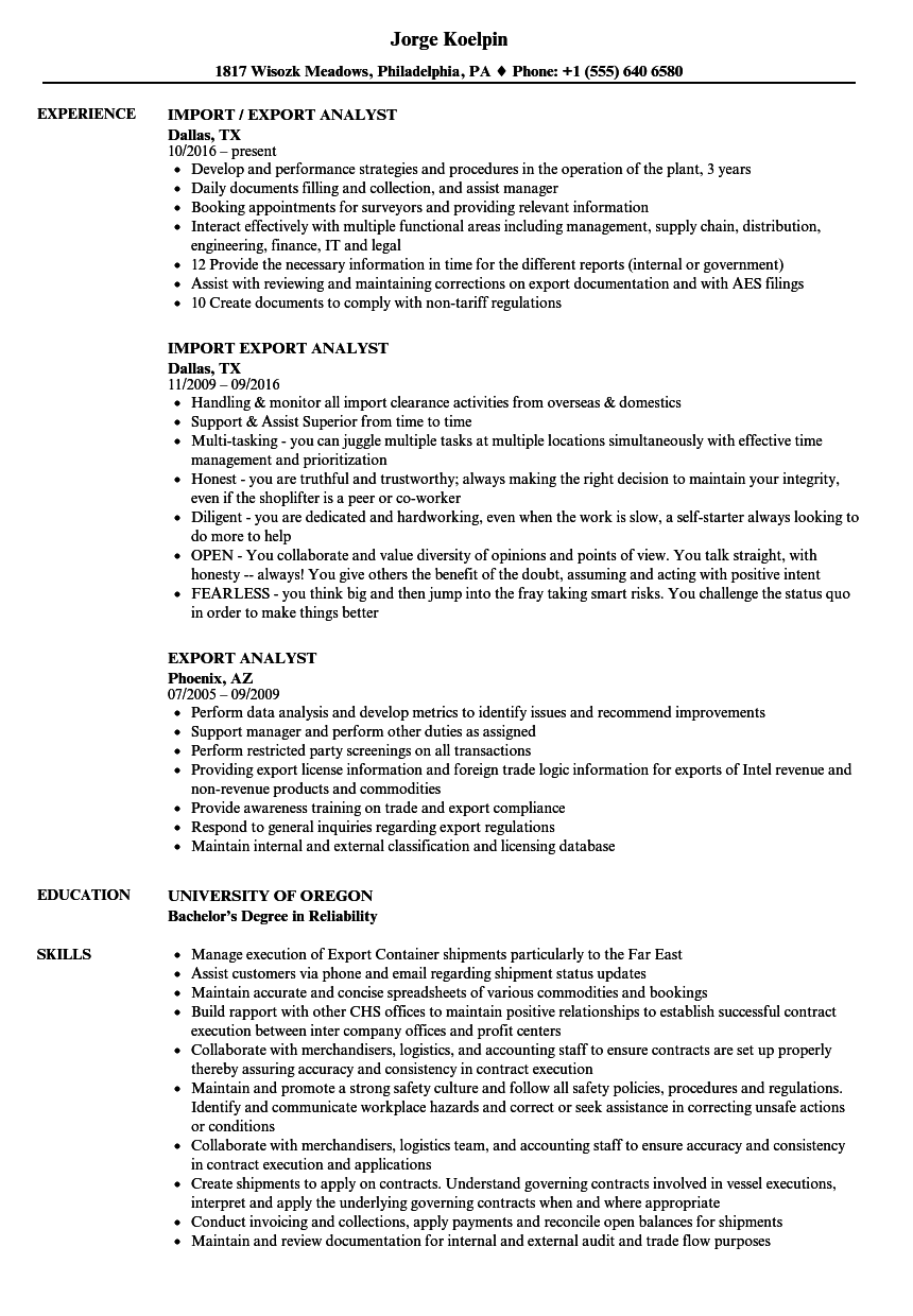 export analyst resume samples