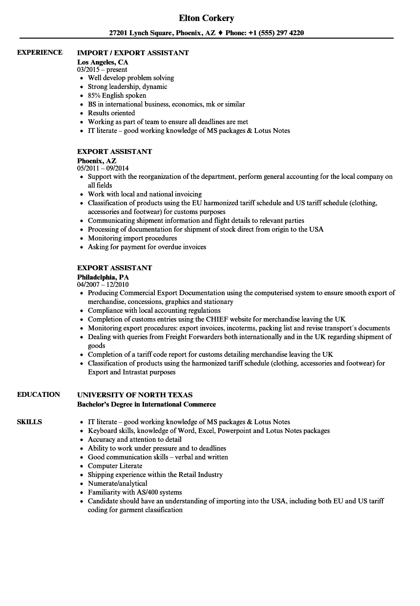 export assistant resume samples