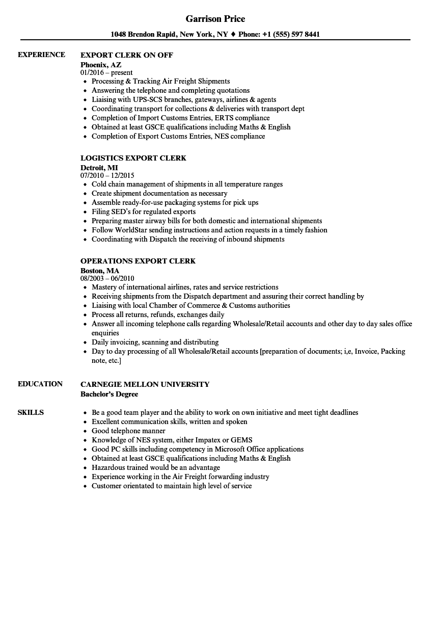 export clerk resume samples