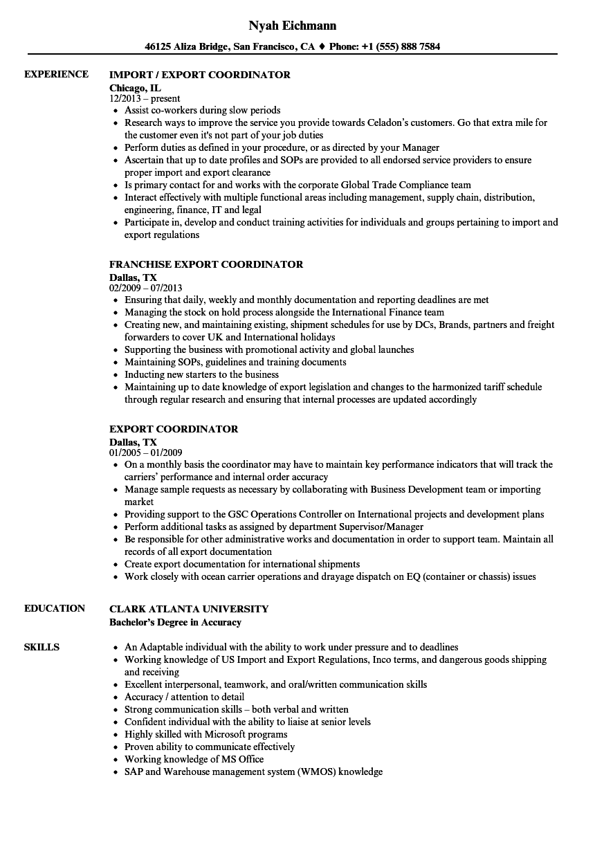export coordinator resume samples