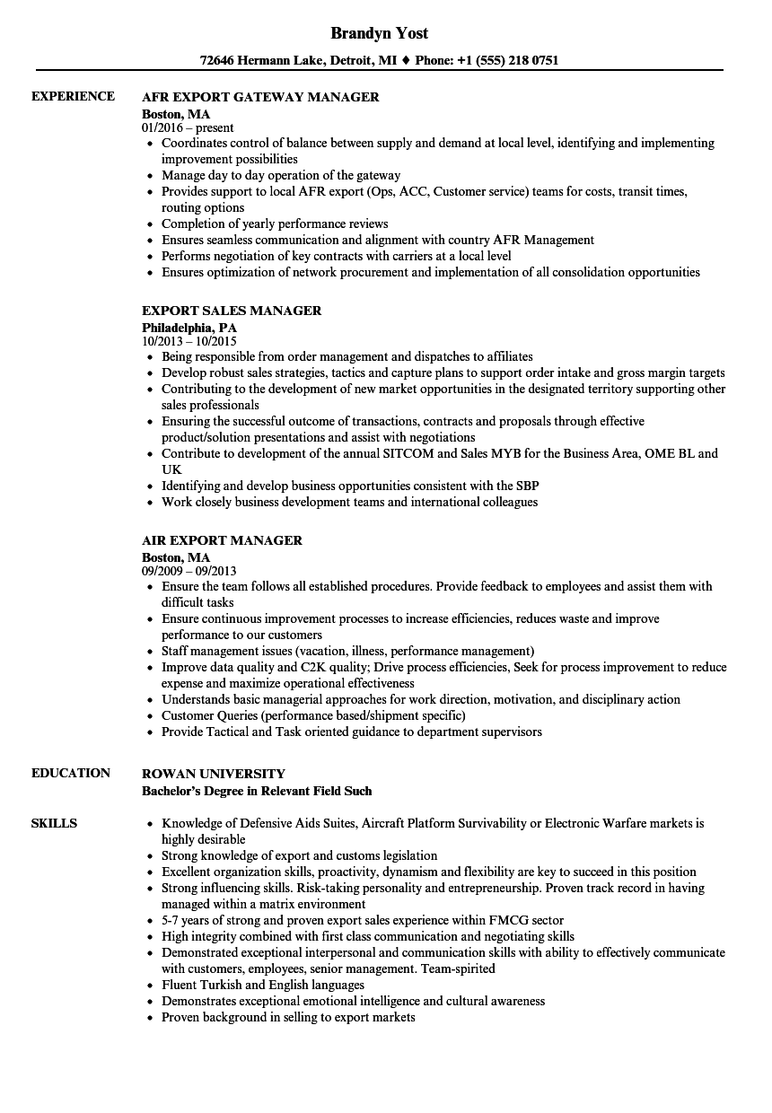 export manager resume samples