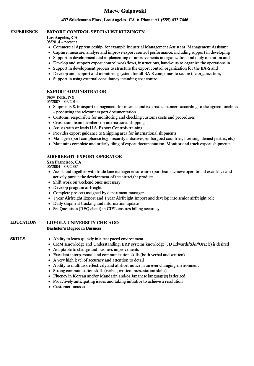 export resume samples