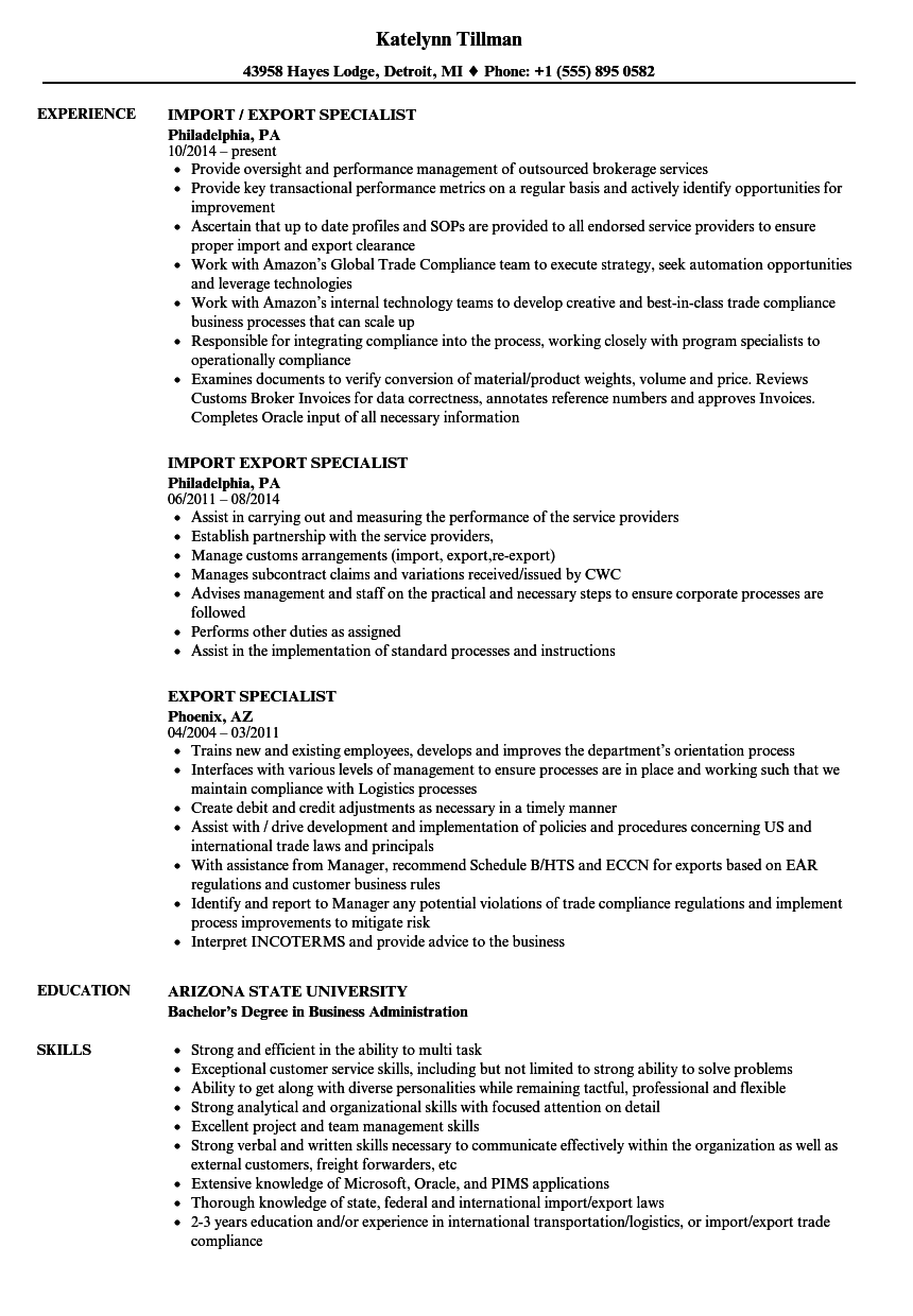 export specialist resume samples