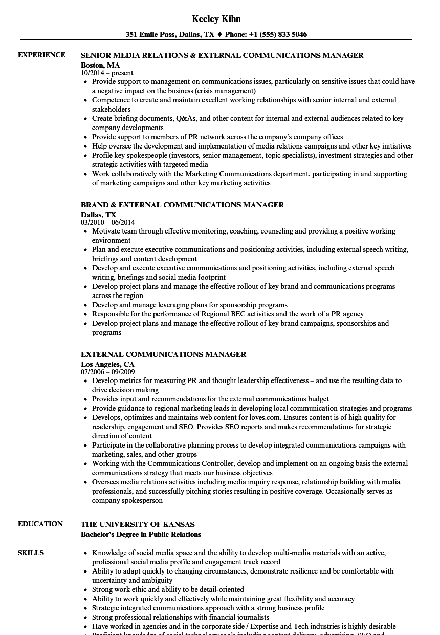 External Communications Manager Resume Samples | Velvet Jobs