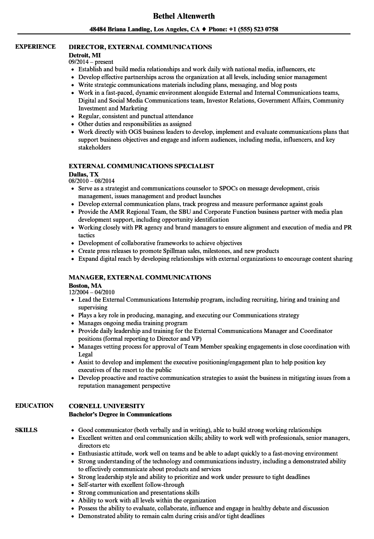 communication consultant cv july 2020