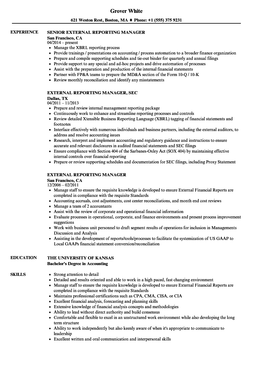 external reporting manager resume samples