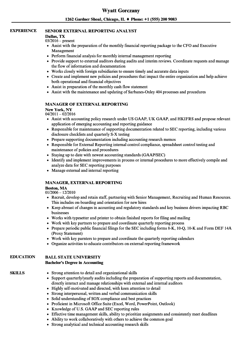 external reporting resume samples
