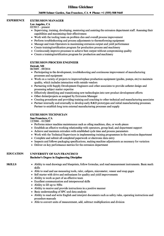 Extrusion Resume Samples | Velvet Jobs
