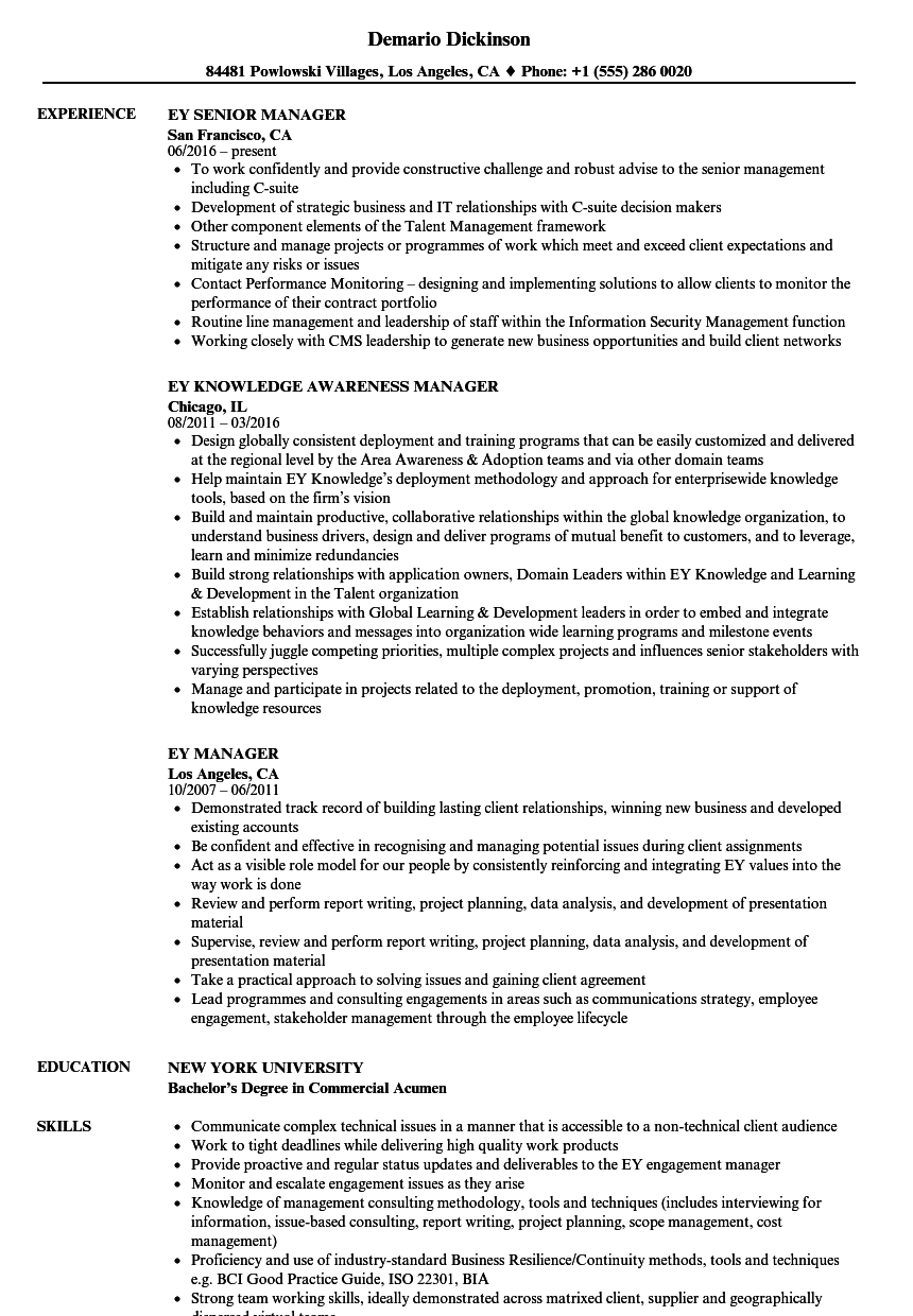 ey manager resume samples