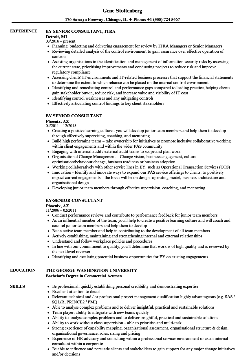 EY Senior Consultant Resume Samples | Velvet Jobs