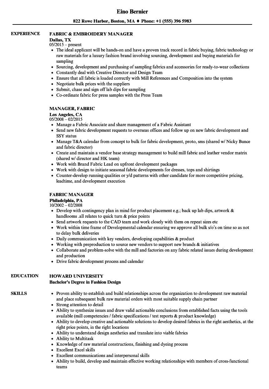 Fabric Manager Resume Samples | Velvet Jobs